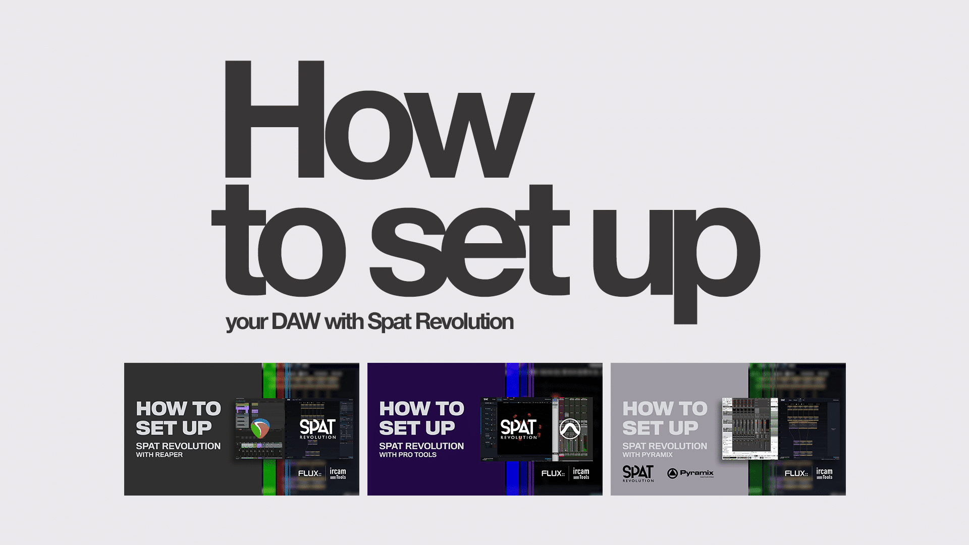 How to set up your DAW with Spat Revolution
